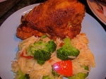 Buttermilk fried chicken in peanut oil and veggie orzo