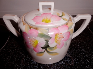antique hand-painted china sugar bowl