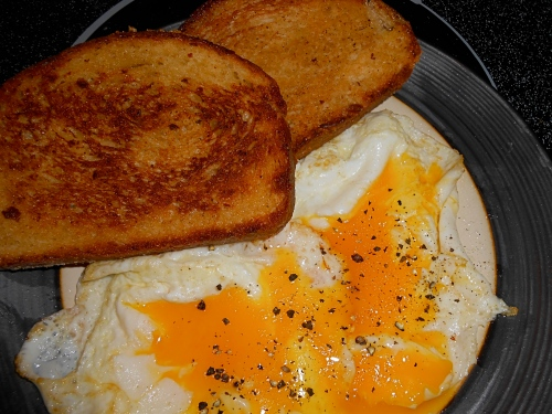 homemade fried bread and fried eggd