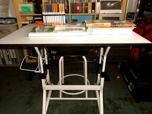"""My art table now in Joe's studio ... it's our studio"""