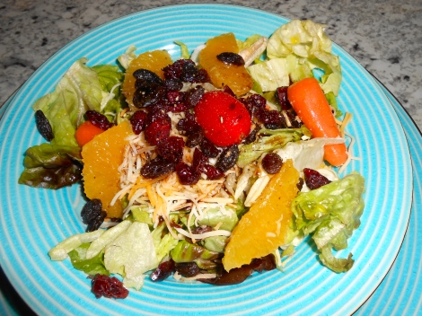 """Tip: Assemble salad in an aluminum turkey-size pan; take what you need quickly. This provides you enough for four days and you only made salad one time."""""""